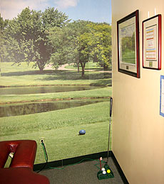 A view into a themed physical therapy treatment room at our Bloomfield, NJ location